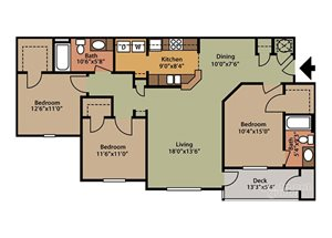 Floor plan at Fairfield Lakes Apartments, 8100 W. Hwy 98, Florida