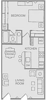 Floorplan D - 1x1