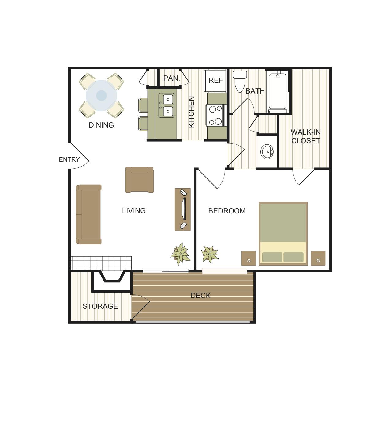 1 Bedroom | 1 Bath Floor Plan 3