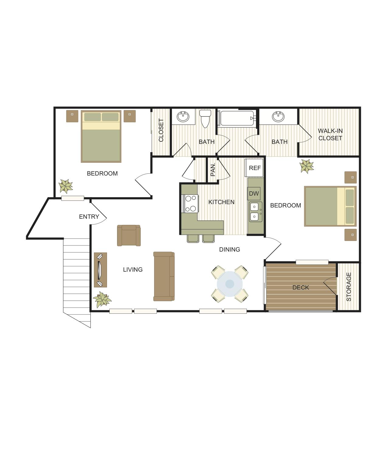 2 Bedrooms | 1 Bath Floor Plan 4