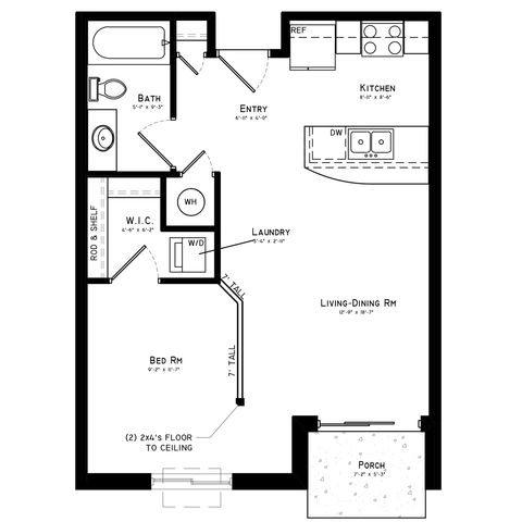 Studio - Bristol Floor Plan 1
