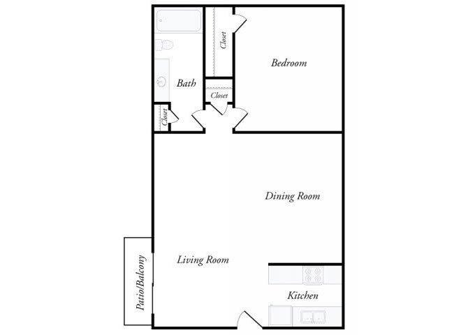 1x1 Floorplan at Creekwood Apartments. Floor Plans of Creekwood Apartments in Killeen  TX