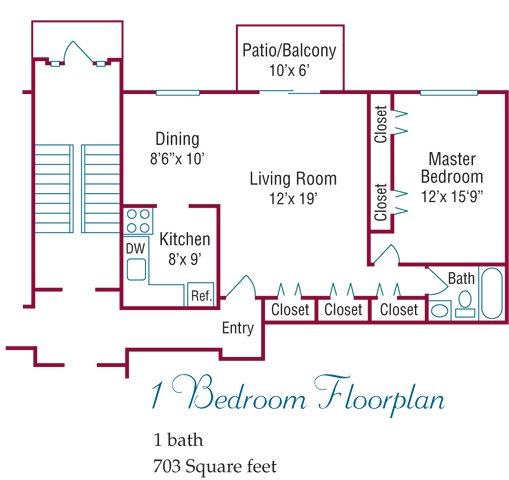 1 Bedroom Floorplan Floor Plan 1