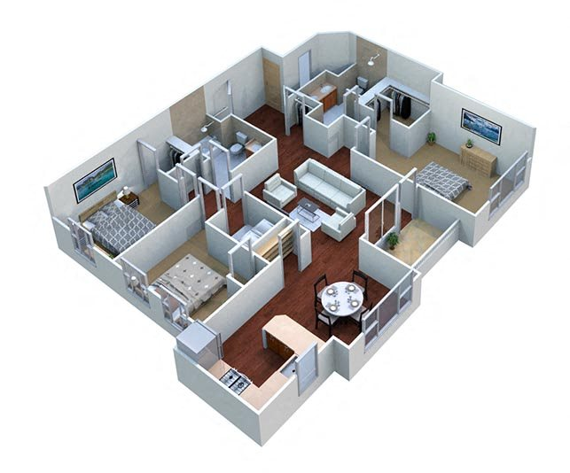 Chestnut - Apt Floor Plan 1