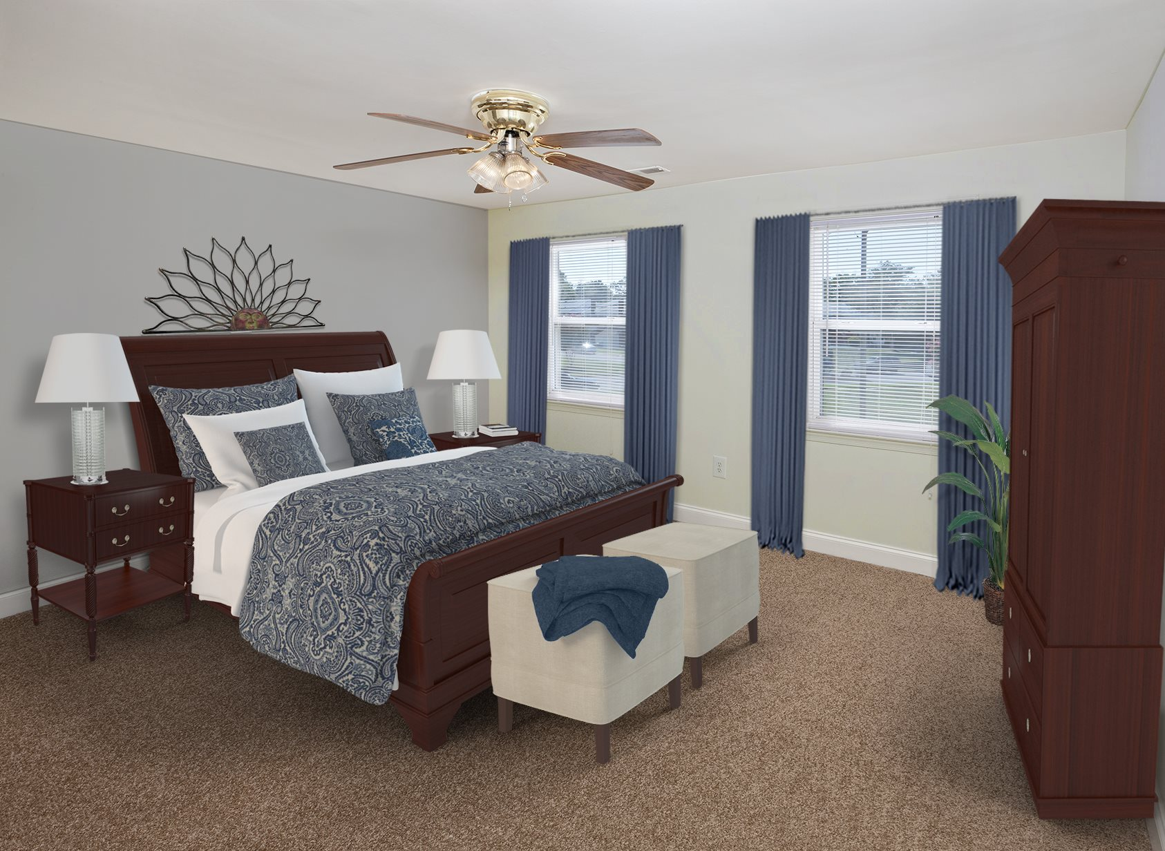 Spacious carpeted bedrooms at Day Village Townhomes, Dundalk, MD,21222