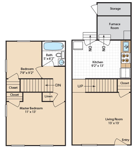 2 Bedroom 1 Bath Floorplan at Day Village Townhomes, Dundalk, MD