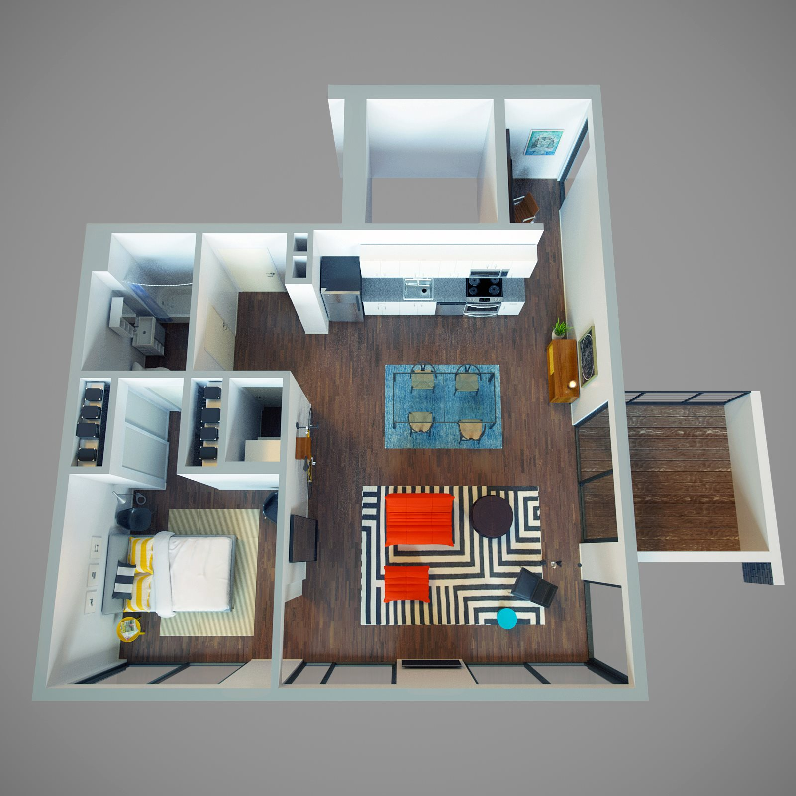 1 Bed - Park View + Office & Deck Floor Plan 9