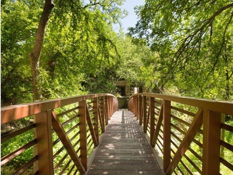 Gorgeous, tree-lined nature escape with walking bridge on-site