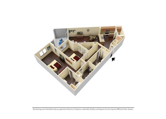 Two Bedroom Floorplan Nandina Town Center at Lake Carolina, Columbia, SC 29229