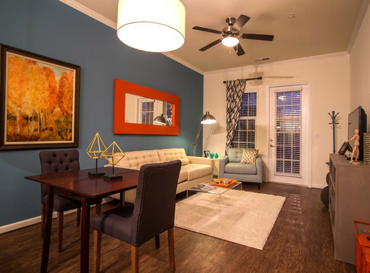 one bedroom model - furnished living room Town Center at Lake Carolina Apartments, Columbia, SC 29229