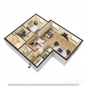 Montrachet Floor Plan at Chez Elan Fine Apartment Homes in Fort Walton Beach, Florida, FL