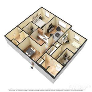 Savona Floor Plan at Chez Elan Fine Apartment Homes in Fort Walton Beach, Florida, FL