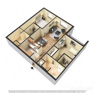 Avignon Floor Plan at Chez Elan Fine Apartment Homes in Fort Walton Beach, Florida, FL