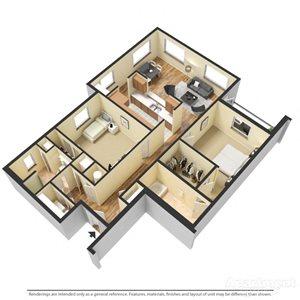 Cremant Floor Plan at Chez Elan Fine Apartment Homes in Fort Walton Beach, Florida, FL