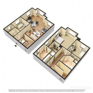 Chiaretto II Floor Plan at Chez Elan Fine Apartment Homes in Fort Walton Beach, Florida, FL