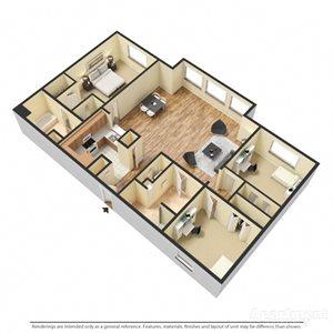 Sangiovese Floor Plan at Chez Elan Fine Apartment Homes in Fort Walton Beach, Florida, FL