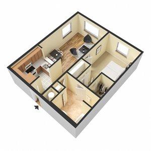 Mercier Floor Plan at Chez Elan Fine Apartment Homes in Fort Walton Beach, Florida, FL