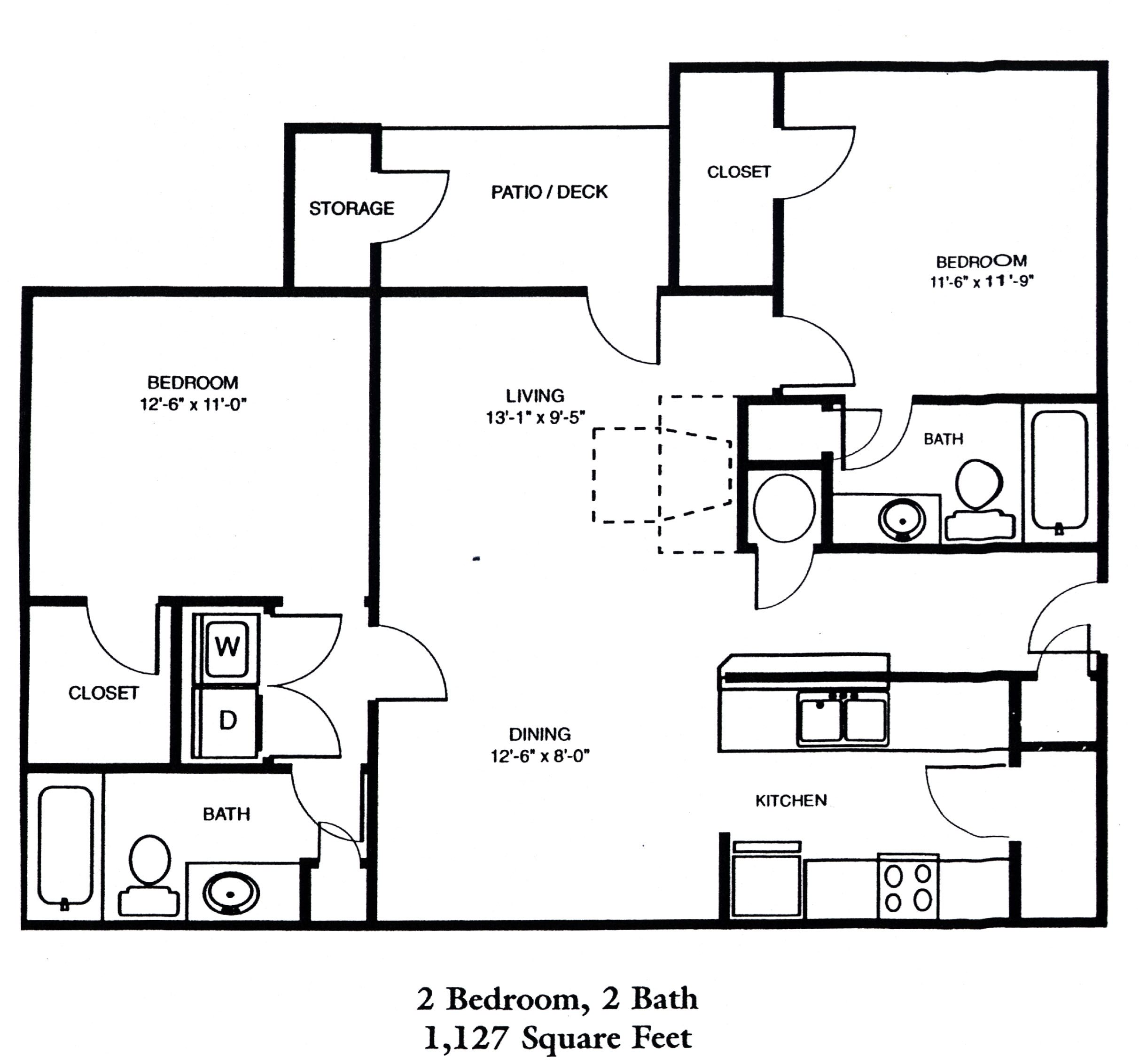 2 Bedroom | 2 Bath Floor Plan 3