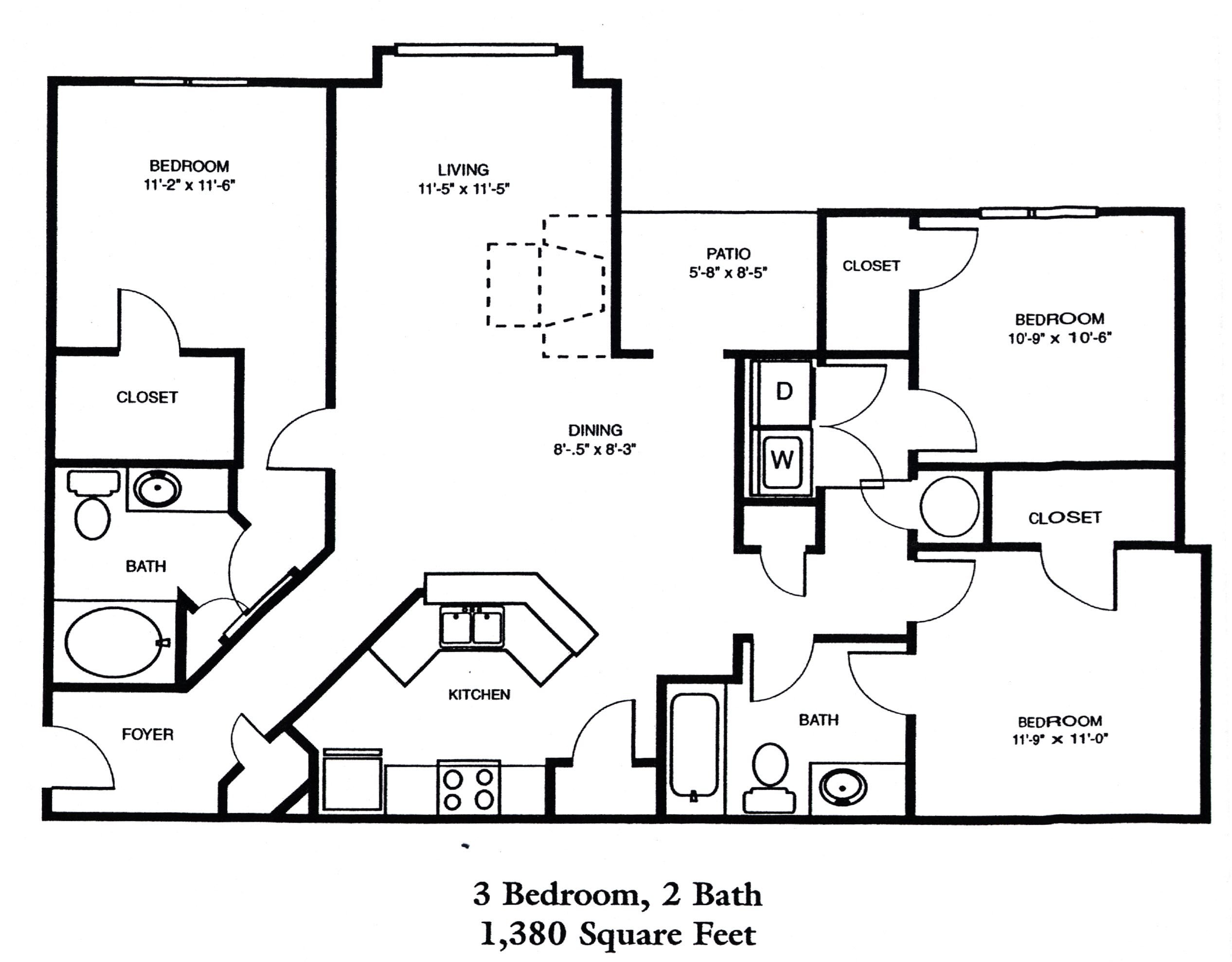 3 Bedroom | 2 Bath Floor Plan 4