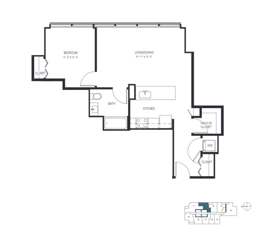One Bedroom (786 sf) Floor Plan 10