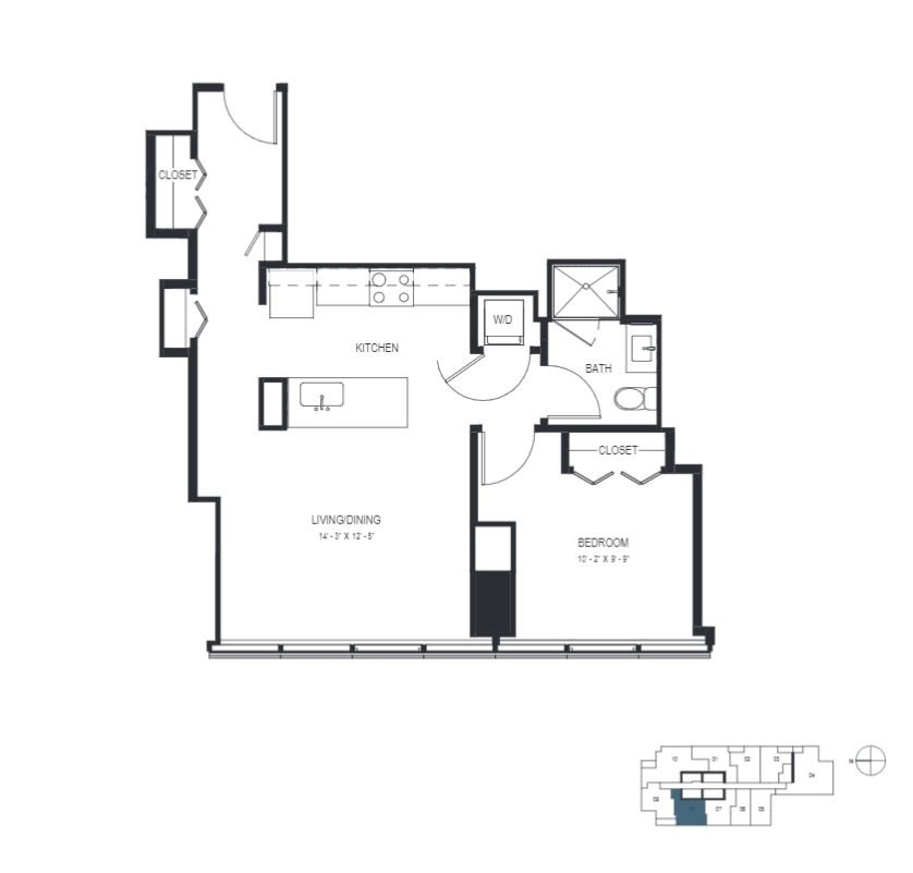 One Bedroom (720 sf) Floor Plan 8