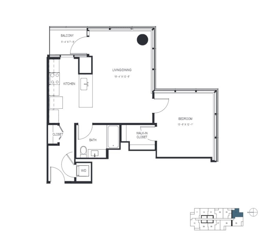 One Bedroom (824 sf) Floor Plan 12