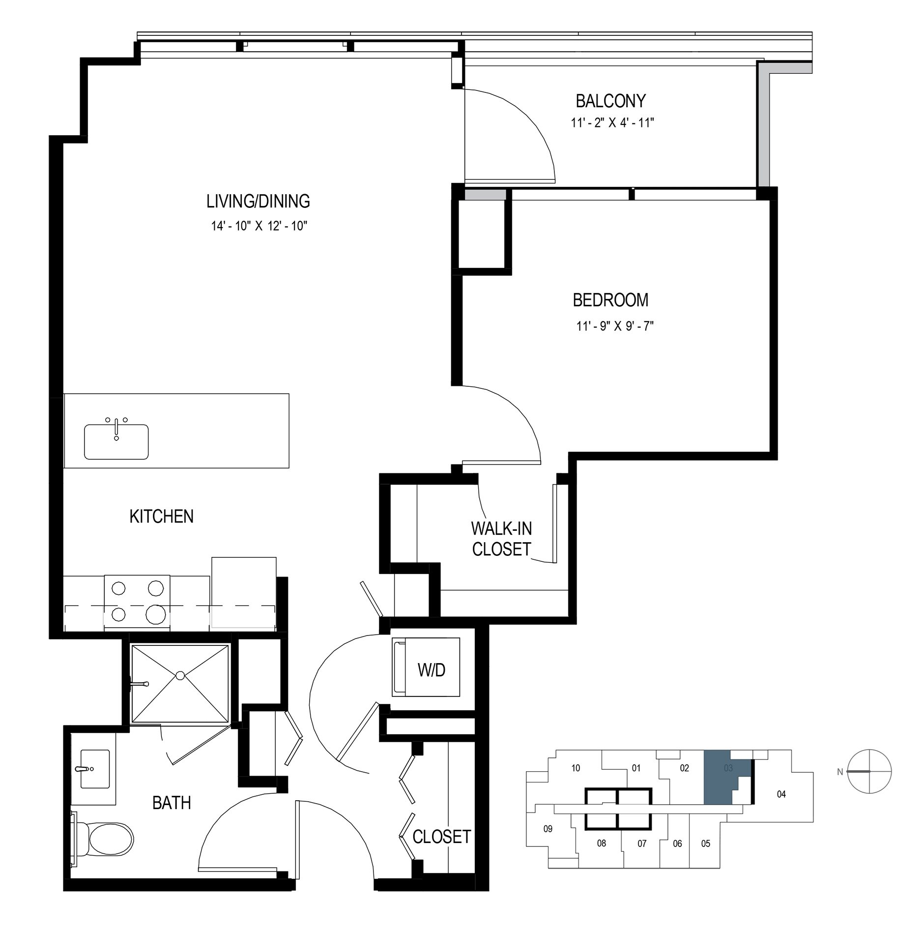 One Bedroom (700 sf) Floor Plan 6