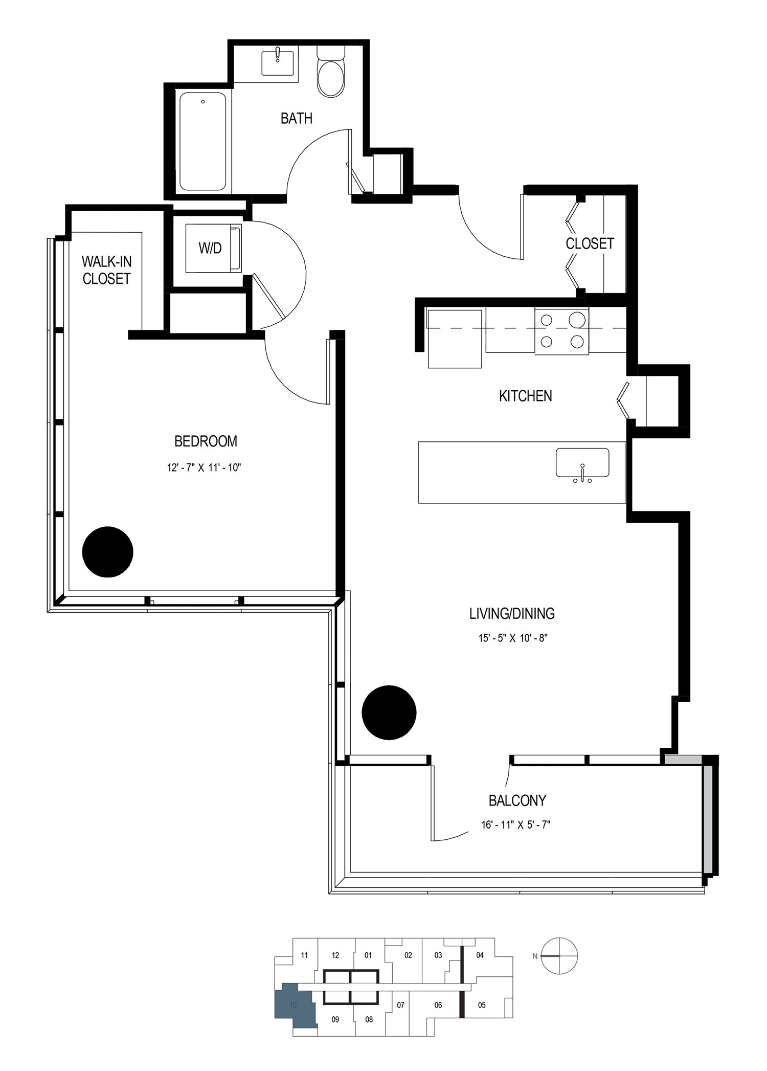 One Bedroom (730 sf) Floor Plan 8