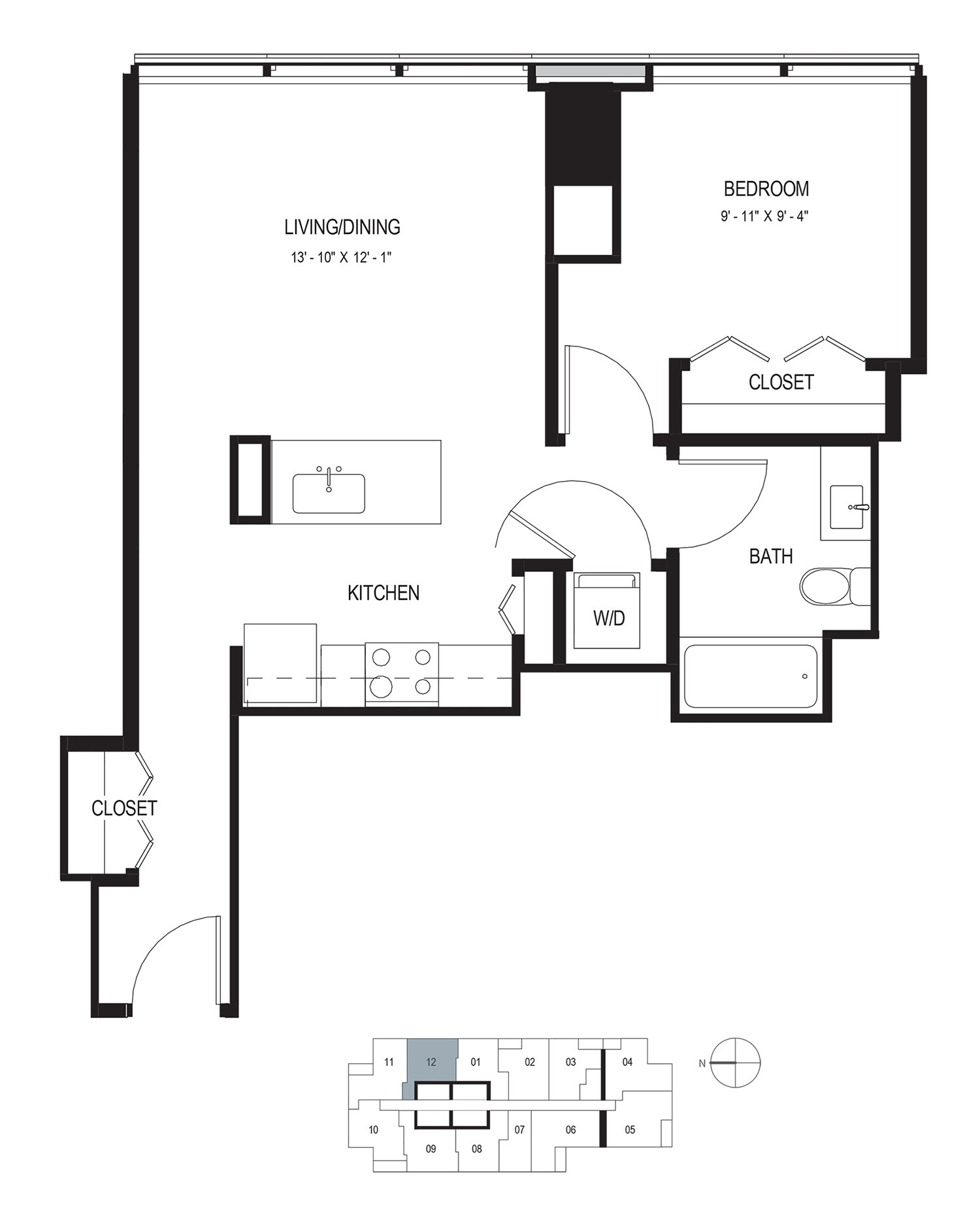 One Bedroom (678 sf) Floor Plan 5