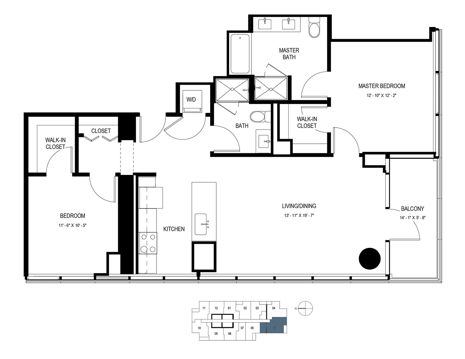 Two Bedroom (1139 sf) Floor Plan 12