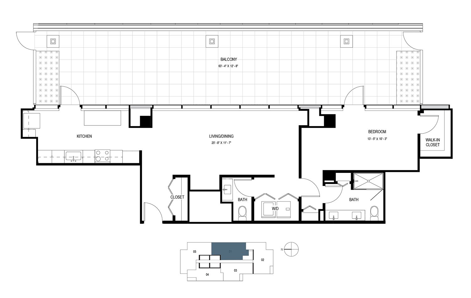 One Bedroom Penthouse (1080 sf) Floor Plan 15