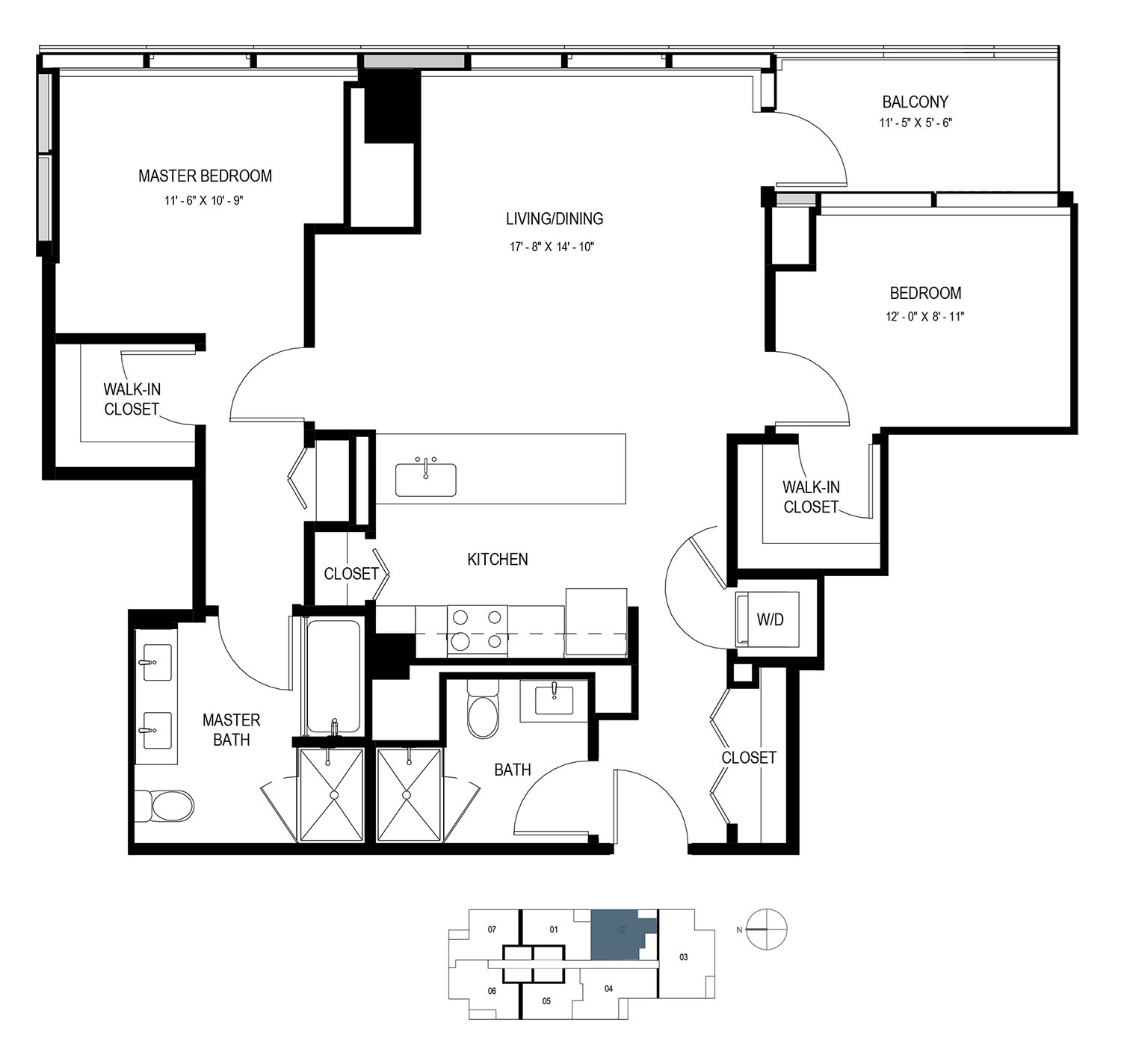 Two Bedroom Penthouse (1073 sf) Floor Plan 16