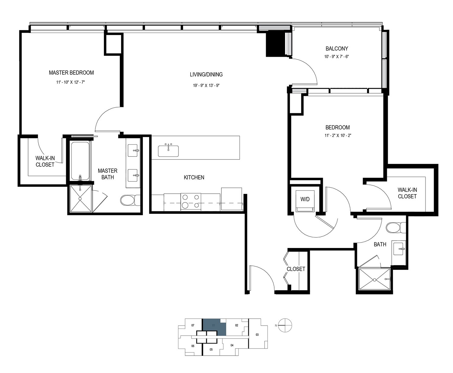 Two Bedroom Penthouse (1158 sf) Floor Plan 13