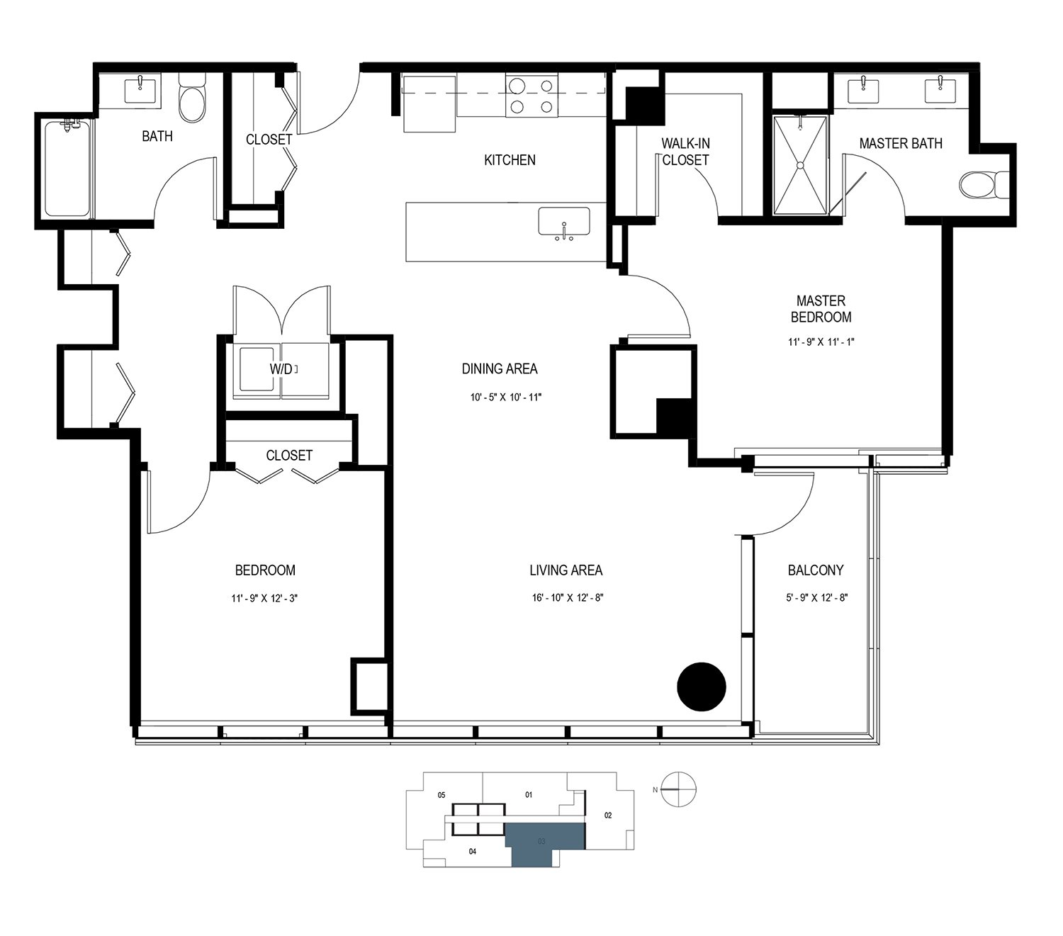 Two Bedroom Penthouse (1258 sf) Floor Plan 20