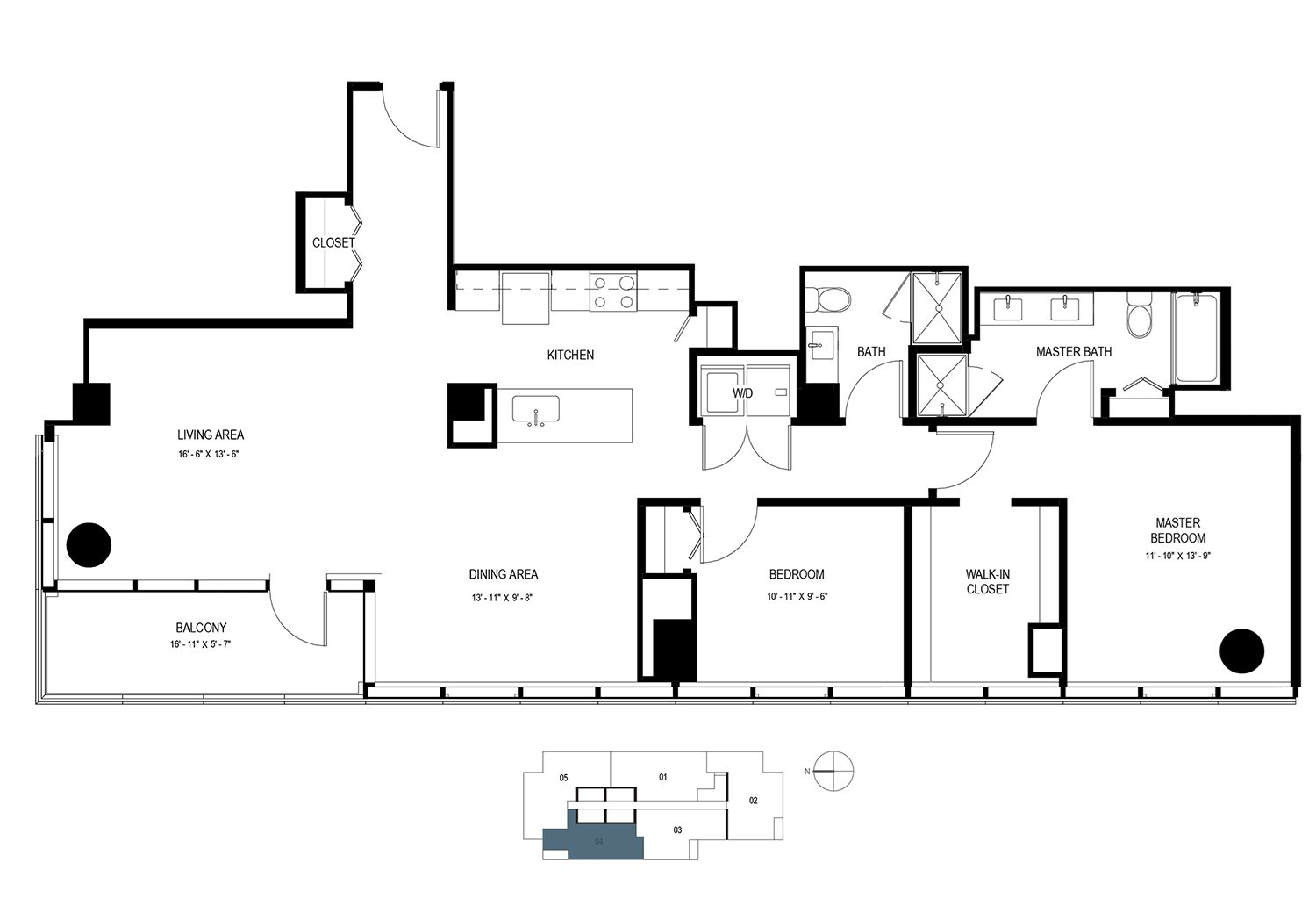 Two Bedroom Penthouse (1431 sf) Floor Plan 23
