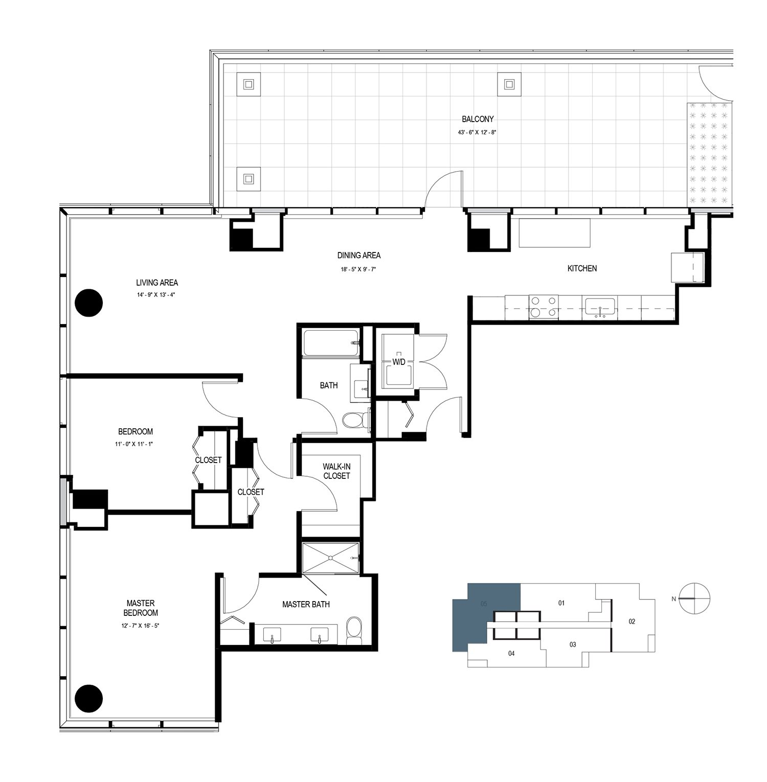 Two Bedroom Penthouse (1469 sf) Floor Plan 14