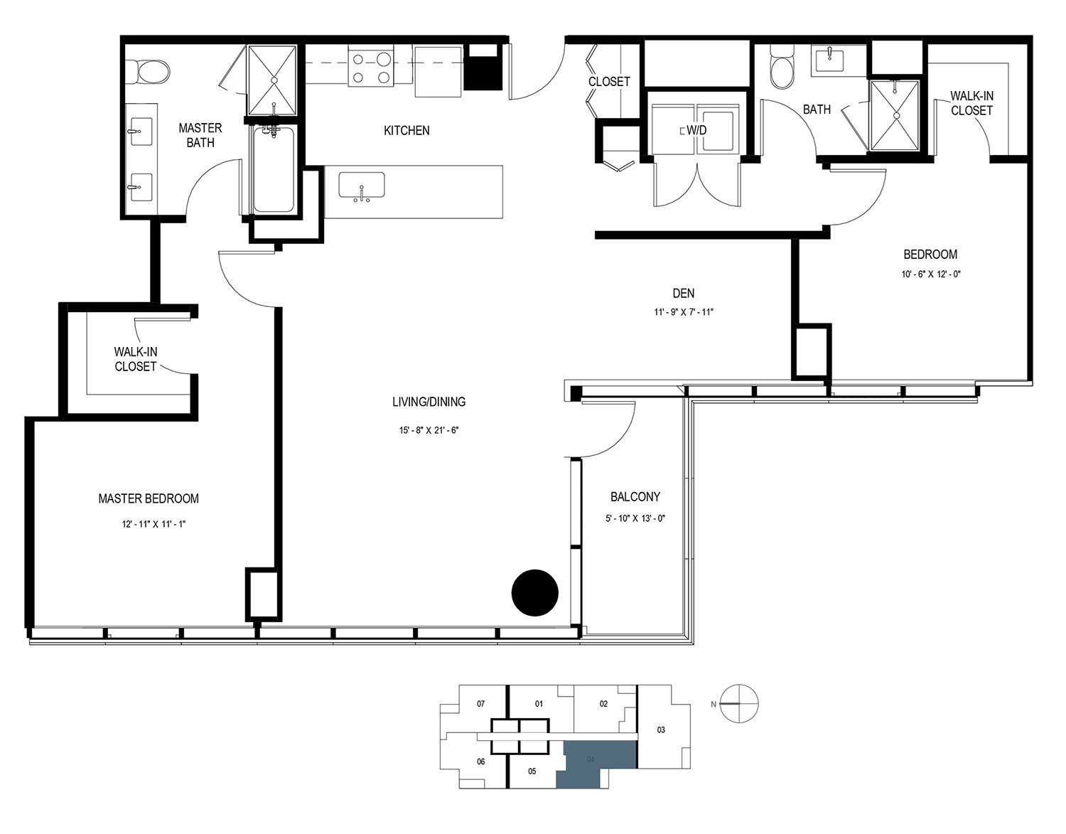 Two Bedroom Penthouse with Den (1364 sf) Floor Plan 22