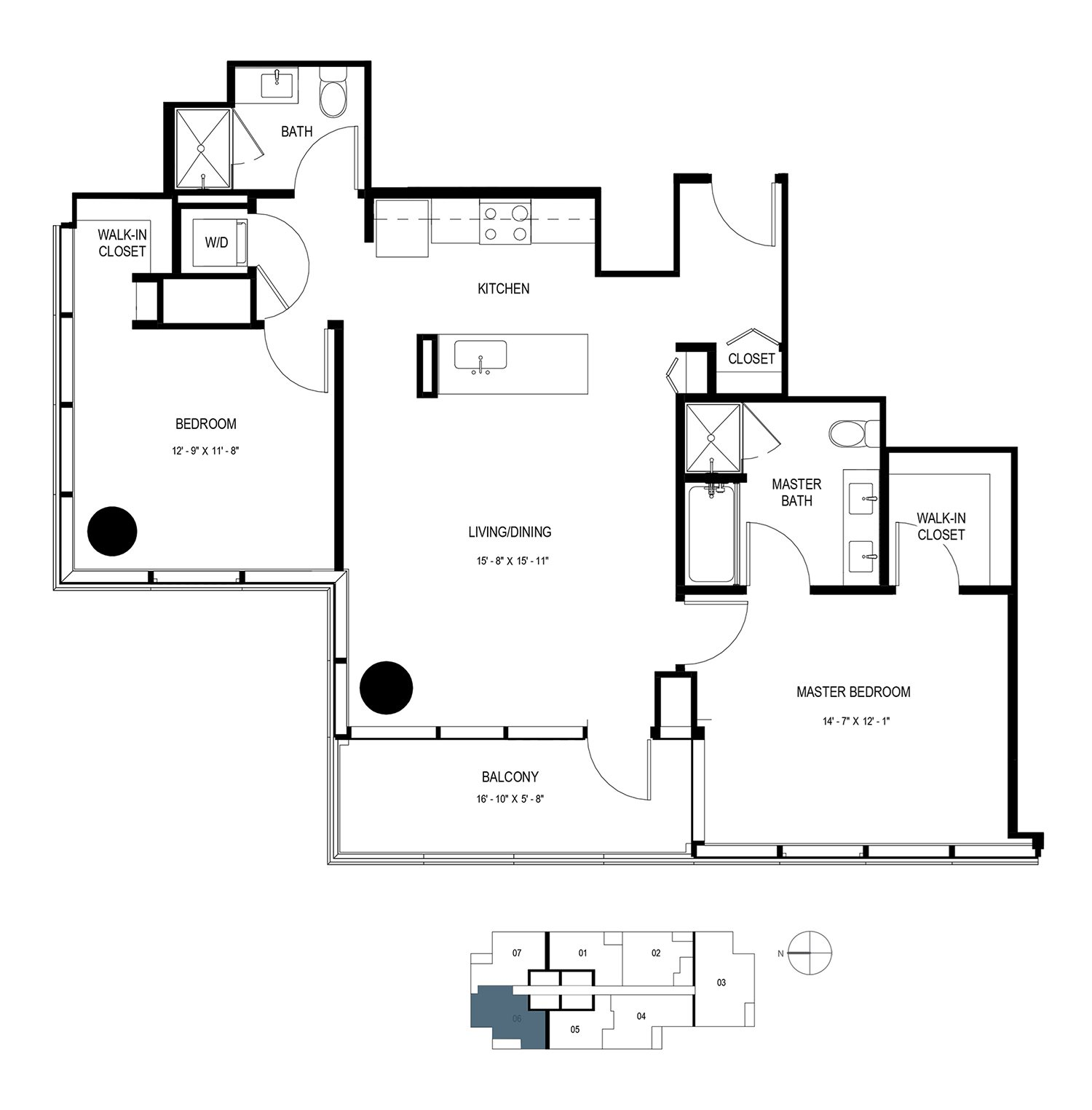 Two Bedroom Penthouse (1168 sf) Floor Plan 19
