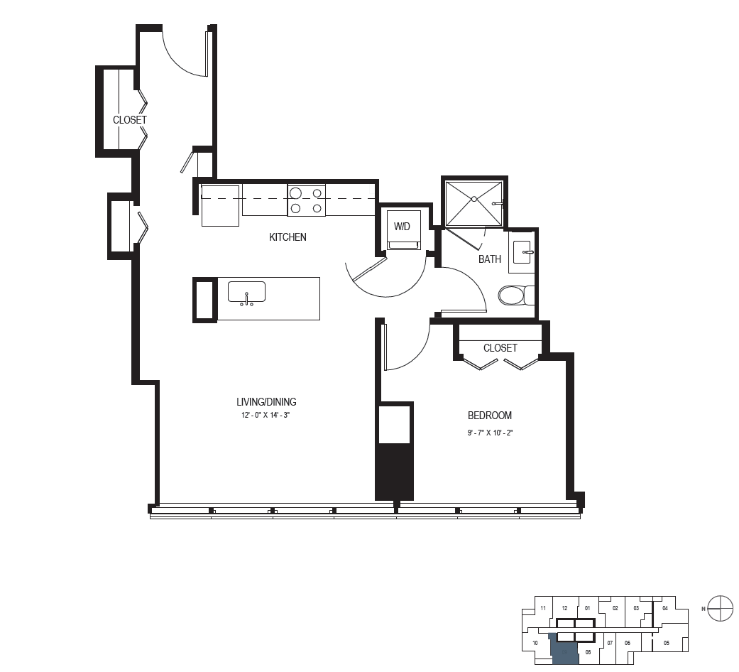 One Bedroom (721 sf) Floor Plan 7