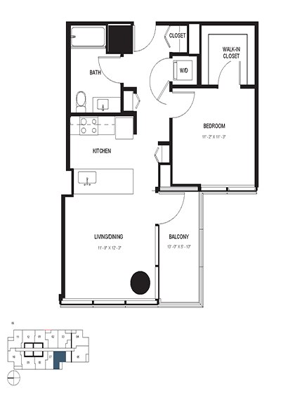 One Bedroom (678 sf) Floor Plan 4