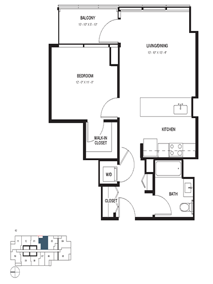 One Bedroom (686 sf) Floor Plan 6