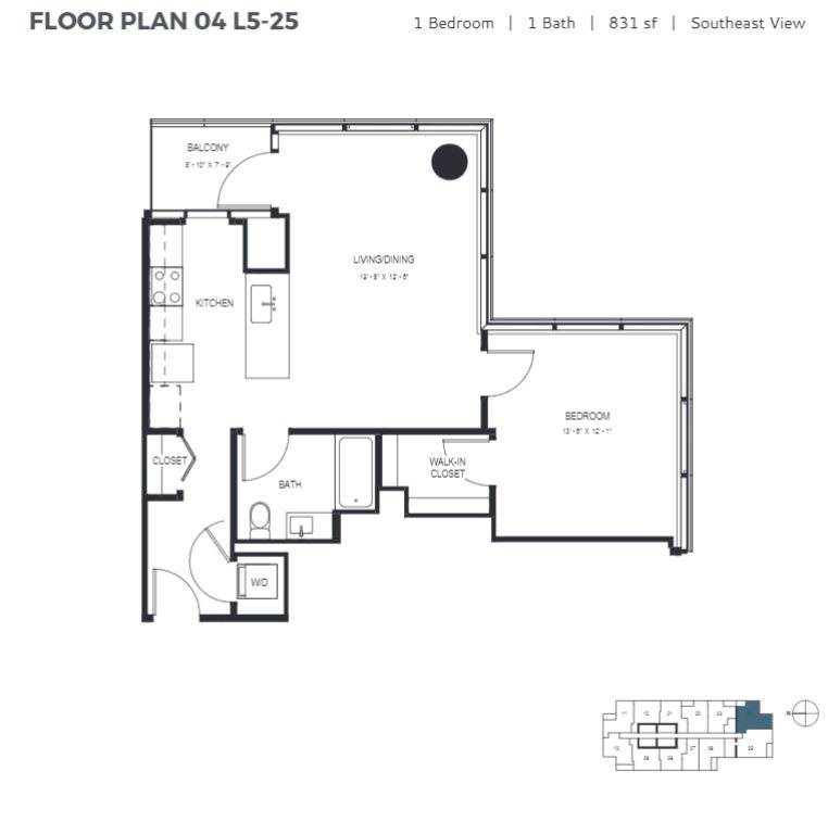 One Bedroom (831 sf) Floor Plan 11