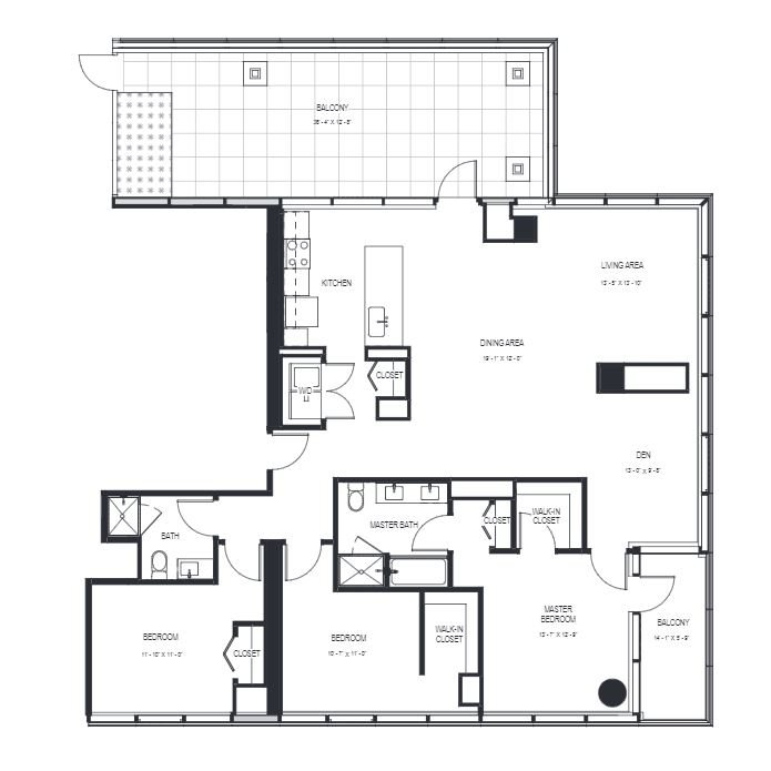 Three Bedroom Penthouse (1793 sf) Floor Plan 25