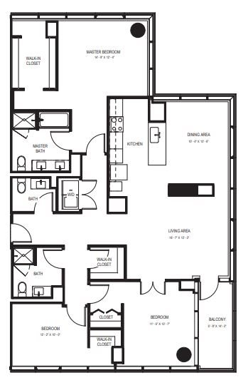 Three Bedroom Penthouse (1829 sf) Floor Plan 15