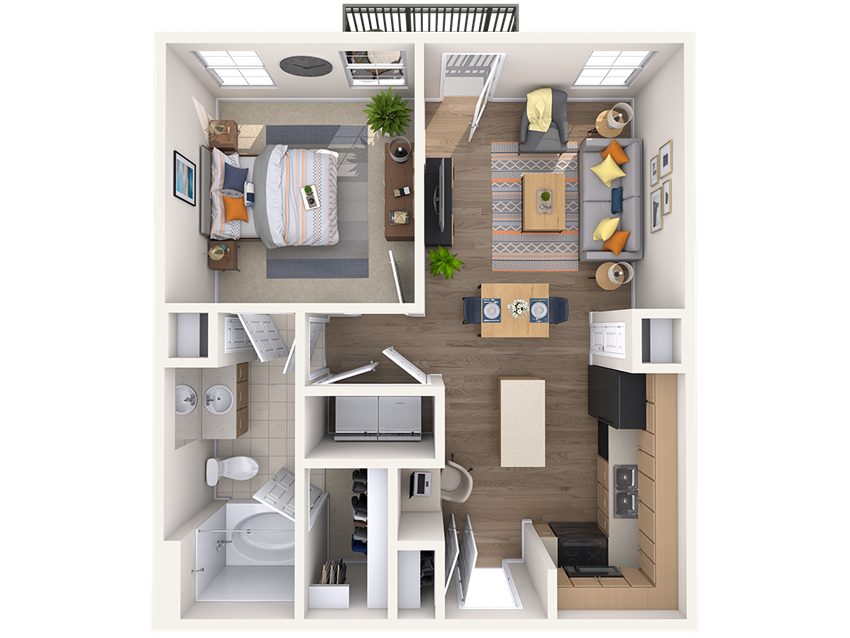 One bedroom one bathroom floor plan at The Beverly in downtown Austin
