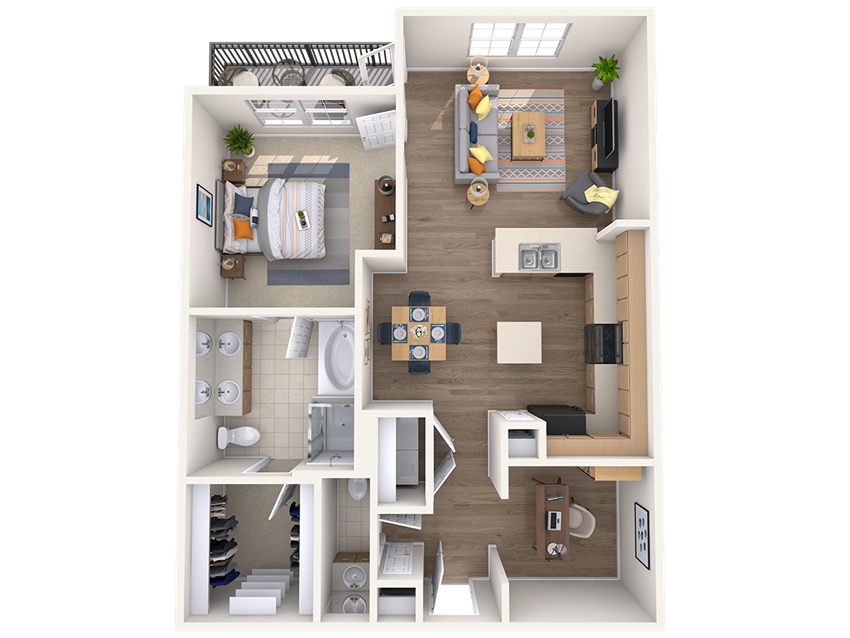 One bedroom one bathroom floor plan at The Beverly