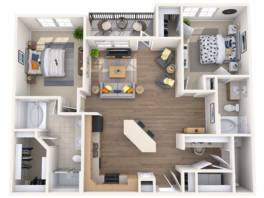 Two bedroom two bathroom floor plan at The Beverly at Medical Center