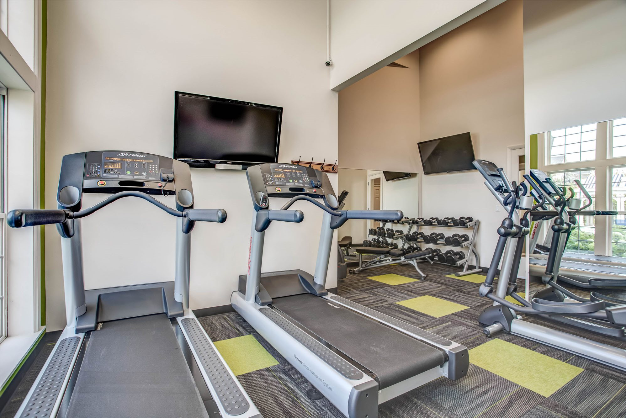 fitness center- cardio machines, free weights