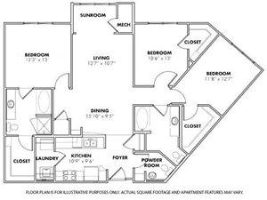 Floorplan at Windsor at Glenridge, 305 5610 Glenridge Drive,Sandy Springs, GA