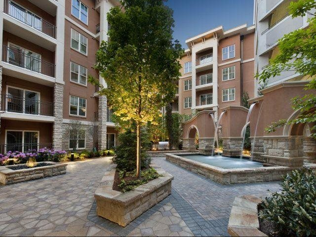 Beautiful courtyards with fire pit and waterfalls, at Windsor at Brookhaven, 305 Brookhaven Ave., Atlanta, GA 30319